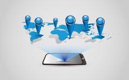 Tecnología del mapa del mundo del fondo del vector y concepto del negocio stock de ilustración