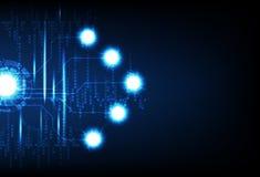 Tecnología del negocio, sistema futurista de Digitaces, bolas eléctricas de neón, ejemplo ligero azul del vector del fondo del ex libre illustration