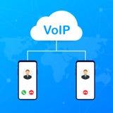 Tecnología del VoIP, voz sobre el IP Internet que llama la bandera Ilustración del vector ilustración del vector