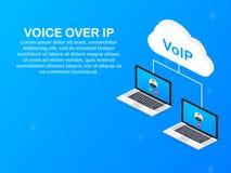 Tecnología del VoIP, voz sobre el IP Internet que llama la bandera Ilustración del vector libre illustration