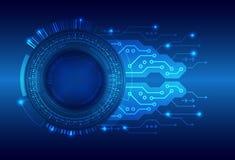 Tecnología digital de alta tecnología en fondo azul stock de ilustración