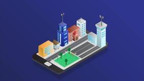 Tecnología elegante de la ciudad con servicio elegante en diseño isométrico libre illustration