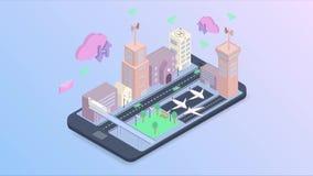 Tecnología elegante de la ciudad con servicio elegante en diseño isométrico del vector almacen de metraje de vídeo