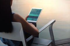 Tecnología en concepto del márketing de las finanzas y de negocio Los gráficos y las cartas muestran en la pantalla de la almohad fotografía de archivo libre de regalías