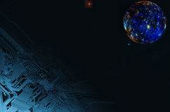 Tecnología espacial y Luna Llena surrealista Imágenes de archivo libres de regalías