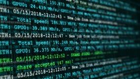 Tecnología financiera de la moneda crypto digital abstracta Animación inconsútil del lazo del proceso de la explotación minera de almacen de metraje de vídeo