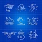 Tecnología futura del AI y línea fina conceptos de la inteligencia artificial del robot Imagen de archivo libre de regalías