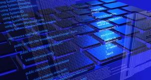 Tecnología futura del código, fondo cibernético azul del concepto fotos de archivo