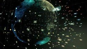 Tecnología futura giratoria de la animación de la tierra del planeta de Digitaces que transporta la era digital moderna y su énfa libre illustration