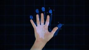 Tecnología futurista de la exploración de la mano almacen de video