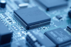 Tecnología futurista - refresque la imagen azul de una CPU Imagen de archivo libre de regalías