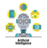 Tecnología global de la conexión del circuito móvil de la inteligencia artificial libre illustration