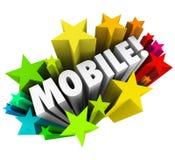 Tecnología inalámbrica elegante de la tableta del teléfono de las estrellas móviles de la palabra Imagen de archivo libre de regalías