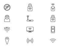 Tecnología inalámbrica, iconos negros del web fijados Foto de archivo