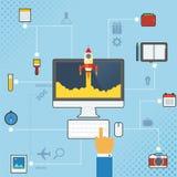 Tecnología Infographic del teléfono móvil Imágenes de archivo libres de regalías