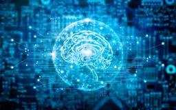 Tecnología innovadora del cerebro virtual en ciencia y conce médico stock de ilustración