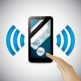 Tecnología móvil del pago del smartphone moderno Foto de archivo libre de regalías