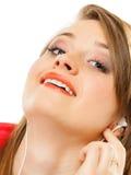 Tecnología, música - muchacha adolescente en auriculares Foto de archivo