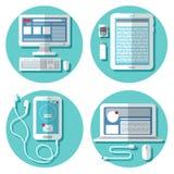 Tecnología moderna: Ordenador portátil, ordenador, Smartphone, tableta Fotos de archivo
