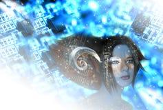 Tecnología-ninguna muchacha del duende ilustración del vector