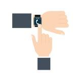 Tecnología usable del reloj elegante de la pantalla táctil de la mano Imagen de archivo