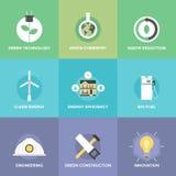 Tecnología verde e iconos planos de las innovaciones fijados Imagen de archivo libre de regalías