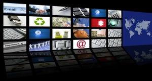 Tecnología y comunicaciones video de la pantalla de la TV stock de ilustración