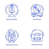 Tecnología y línea sistema del hardware de los iconos libre illustration