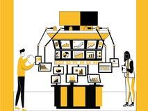 Tecnología y máquinas de la bolsa de acción ilustración del vector