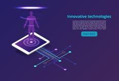 Tecnologías de Digitaces Supervisión y prueba del proceso digital Análisis de negocio de Digitaces Concepto de diseño moderno stock de ilustración