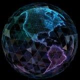 Tecnologías de Internet de la red global Mapa del mundo de Digitaces Fotos de archivo