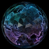 Tecnologías de Internet de la red global Mapa del mundo de Digitaces ilustración del vector