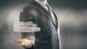 Tecnologías de la señal disponible de Holding del hombre de negocios de Colosseum Roma nuevas almacen de metraje de vídeo