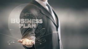 Tecnologías de la señal disponible de Holding del hombre de negocios del plan empresarial nuevas almacen de metraje de vídeo