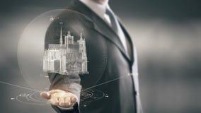Tecnologías de la señal disponible de Notre Dame de Paris Businessman Holding nuevas almacen de video