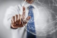 Tecnologías del establecimiento de una red e interacción social Imagen de archivo