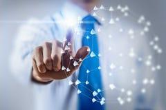 Tecnologías del establecimiento de una red e interacción social Imágenes de archivo libres de regalías