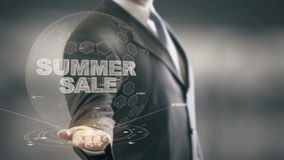 Tecnologías disponibles de Holding del hombre de negocios de la venta del verano nuevas stock de ilustración
