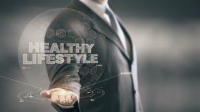 Tecnologías disponibles de Holding del hombre de negocios sano de la forma de vida nuevas stock de ilustración