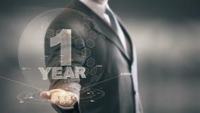 Tecnologías disponibles de un 1 del año Holding del hombre de negocios nuevas ilustración del vector