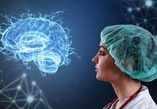 Tecnologías innovadoras en ciencia y medicina elementos del ejemplo 3D en collage fotografía de archivo libre de regalías