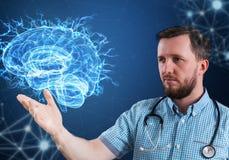 Tecnologías innovadoras en ciencia y medicina elementos del ejemplo 3D en collage fotos de archivo libres de regalías