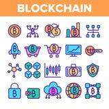 Tecnolog?a de Blockchain, sistema linear de los iconos del vector de Cryptocurrency stock de ilustración