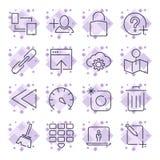 Tecnolog?a de Internet y de Internet de las TIC Iconos universales para el web, los programas, los apps y otro Movimiento Editabl stock de ilustración