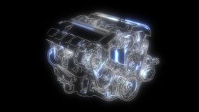 Tecnolog?a del autom?vil Compresor del coche animaci?n en el panel del indicador digital ilustración del vector