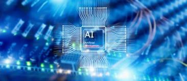 Tecnolog?a del futuro de la inteligencia artificial Concepto de la red de comunicaciones Fondo moderno borroso del datacenter imagenes de archivo