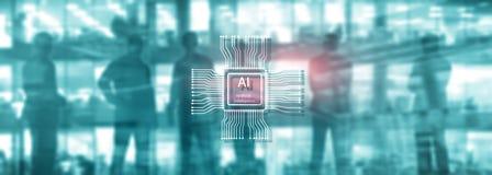 Tecnolog?a del futuro de la inteligencia artificial Fondo azul abstracto borroso Escena urbana imagenes de archivo