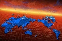 Tecnología global de la placa de circuito del mapa del mundo Fotografía de archivo