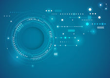 A tecnologia abstrata circunda o fundo azul ilustração do vetor