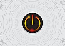 Tecnologia abstrata do círculo com ilustração do vetor do botão do poder ilustração do vetor